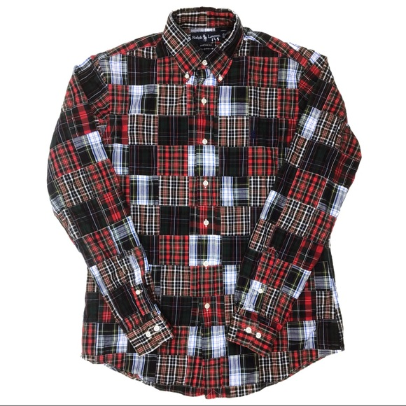 83a1b243 Ralph Lauren Shirts   Quilted Red Plaid Patchwork Shirt M   Poshmark